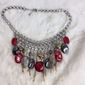 Chain necklace with red & gray crystals